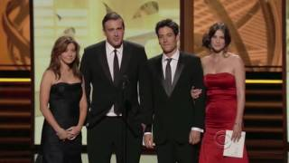 Cast of How I Met Your Mother presents Emmy Award to Matt Hubbard