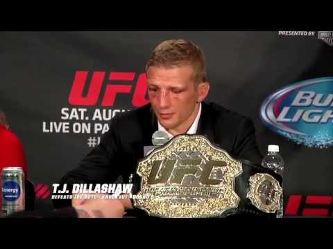 Conference - T.J. Dillashaw reflects on his first UFC title defense, Bethe Correia expresses her desire for a title shot, and Dana's thoughts on Joe Soto.