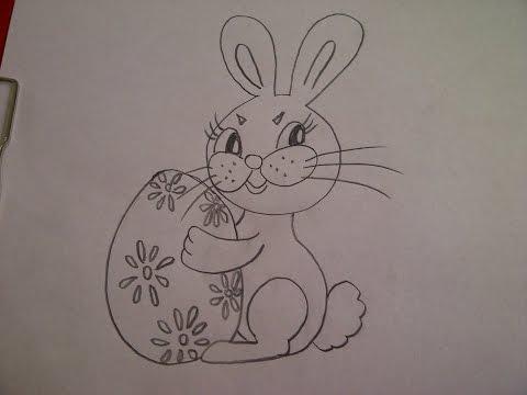 Zeichnen lernen für Anfänger. Hase(Kaninchen) mit Osterei malen