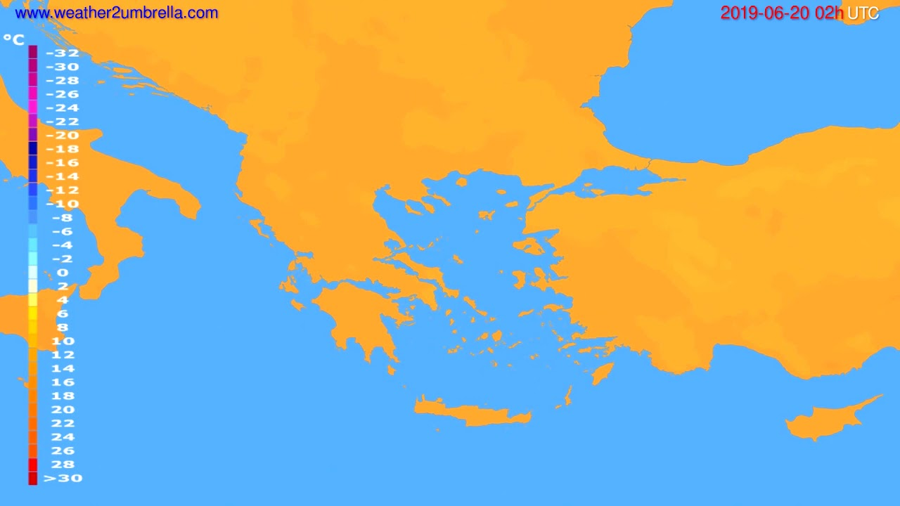 Temperature forecast Greece // modelrun: 00h UTC 2019-06-17