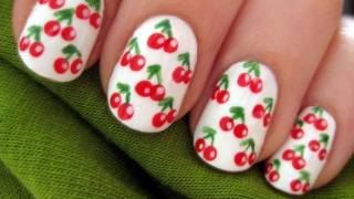 Cherry Nail Art for Short Nails - YouTube