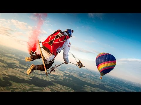 Crazy Skydivers Swing on Giant Swing From Hot Air