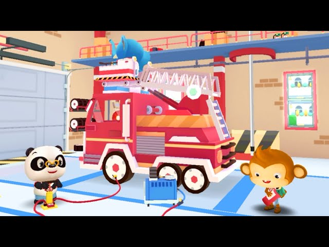 Доктор Панда на русском. Обезьянка спасает друзей. Про пожарные машины. Машинки. Пожарный камаз.