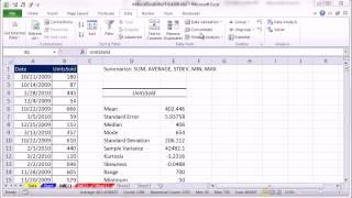 Mr Excel&excelisfun Trick 108: SUM, AVERAGE, STDEV.S, MIN, MAX: Three Methods