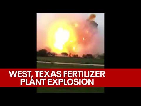 Kraftig explosion fångad på film ifrån en fabrik som tillverkar gödningsmedel