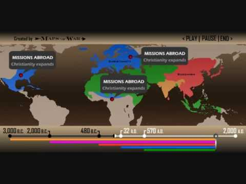 astonishing - World Religions Christianity Islam Judaism Hinduism Sikhism Budhism Spread of Religions by time from 3000 BC to 2000 AD. Discover the origin of religions Per...