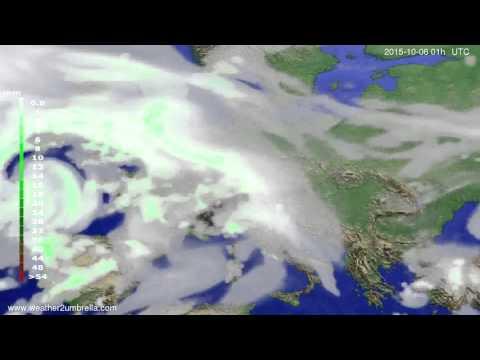 Precipitation forecast Europe 2015-10-03