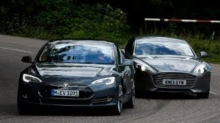 The Tesla Model S is a landmark car, but is it better than the mighty Aston Martin Rapide S? We take to the test track to find out. SUBSCRIBE to Autocar: htt...
