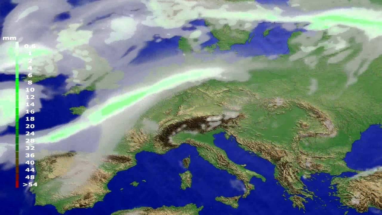 Precipitation forecast Europe 2016-07-31