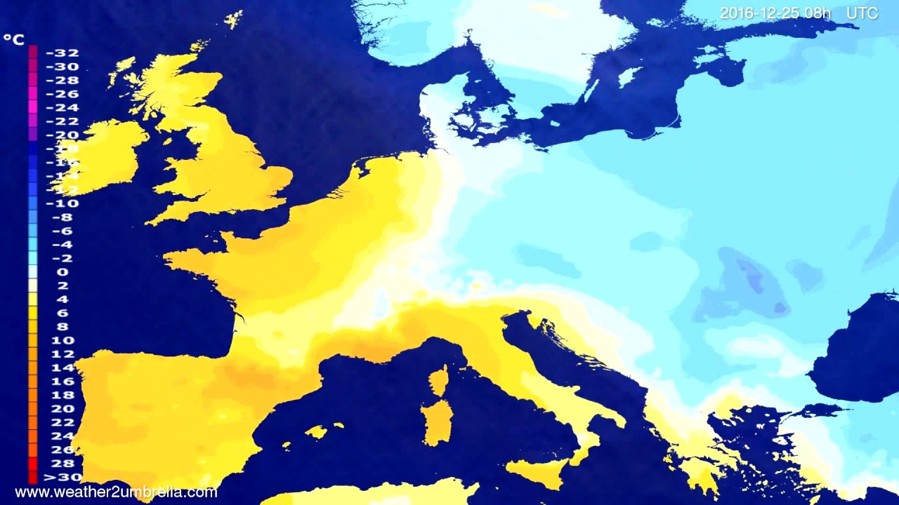 Temperature forecast Europe 2016-12-22