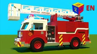 Video Fire truck responding to call - construction game cartoon for children MP3, 3GP, MP4, WEBM, AVI, FLV Agustus 2017