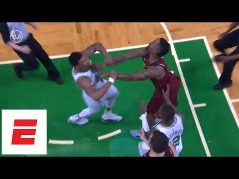 Marcus Smart gets heated after JR Smith shoves airborne Al Horford, gets flagrant 1 | ESPN