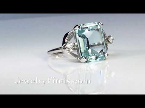 Vintage Aquamarine Diamond Ring 1960's 8.86ct t.w. Emerald Cut Aquamarine Ring 14k White Gold