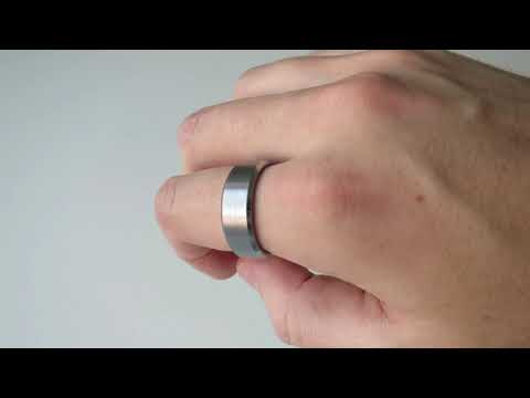 Silver Tungsten Wedding Bands for Men Women Brushed Center and Beveled Edge