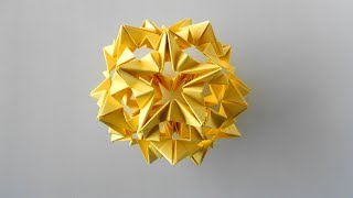 Кусудама звезда из бумаги. Новогоднее украшение оригами на елку