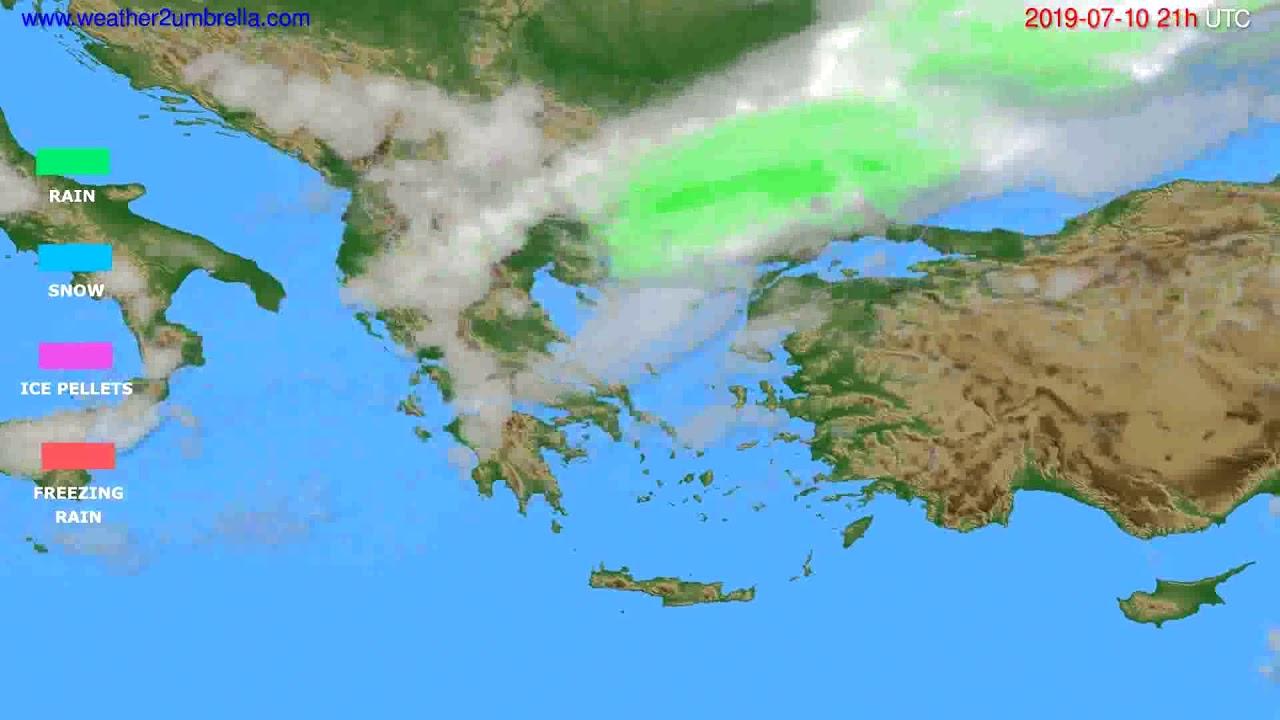 Precipitation forecast Greece // modelrun: 00h UTC 2019-07-09