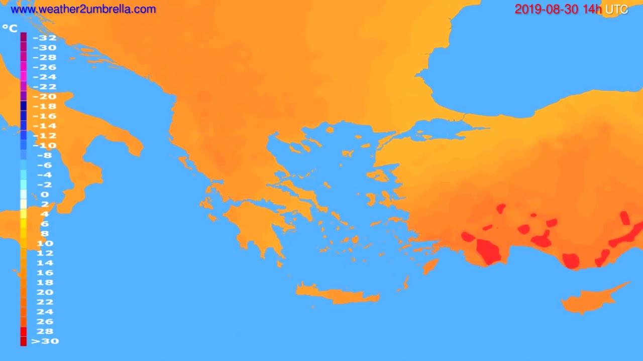 Temperature forecast Greece // modelrun: 12h UTC 2019-08-28