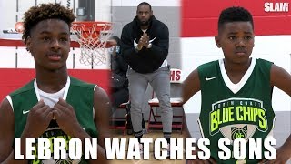 LeBron James watches Bronny and Bryce BALL on OLDER competition! | SLAM Highlights