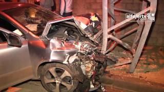 لحظة وقوع حادث سير عند مفرق البلعاوي - شارع ارتاح جنوب مدينة طولكرم