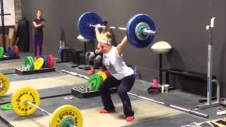 Danielle snatches 72 kg (159 lbs) at 53 kg bodyweight