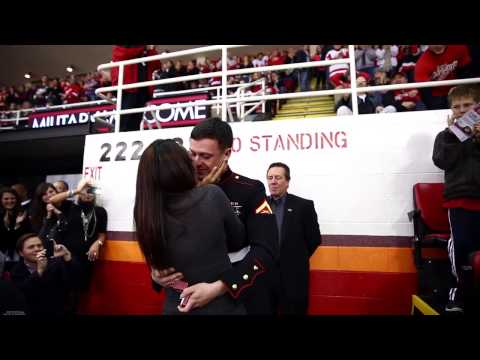 VIDEO: Marine Surprised Family At A Professional Hockey Game & THEN PROPOSED TO HIS GIRL! HELLA CUTE!