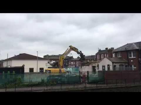 Demolition work at Bridge Street, Stafford, to make way for new cinema