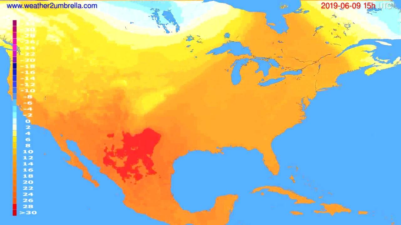 Temperature forecast USA & Canada // modelrun: 12h UTC 2019-06-06