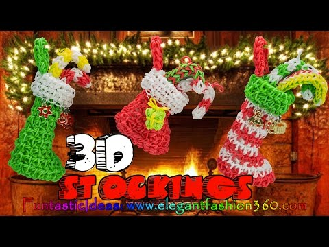 Rainbow Loom Christmas Stocking 3D Charms – How to Loom Bands Tutorial Holiday/Ornaments