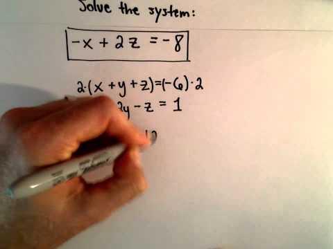 System von 3 Gleichungen, 3 Unbekannten mit Substitution - Ex 2