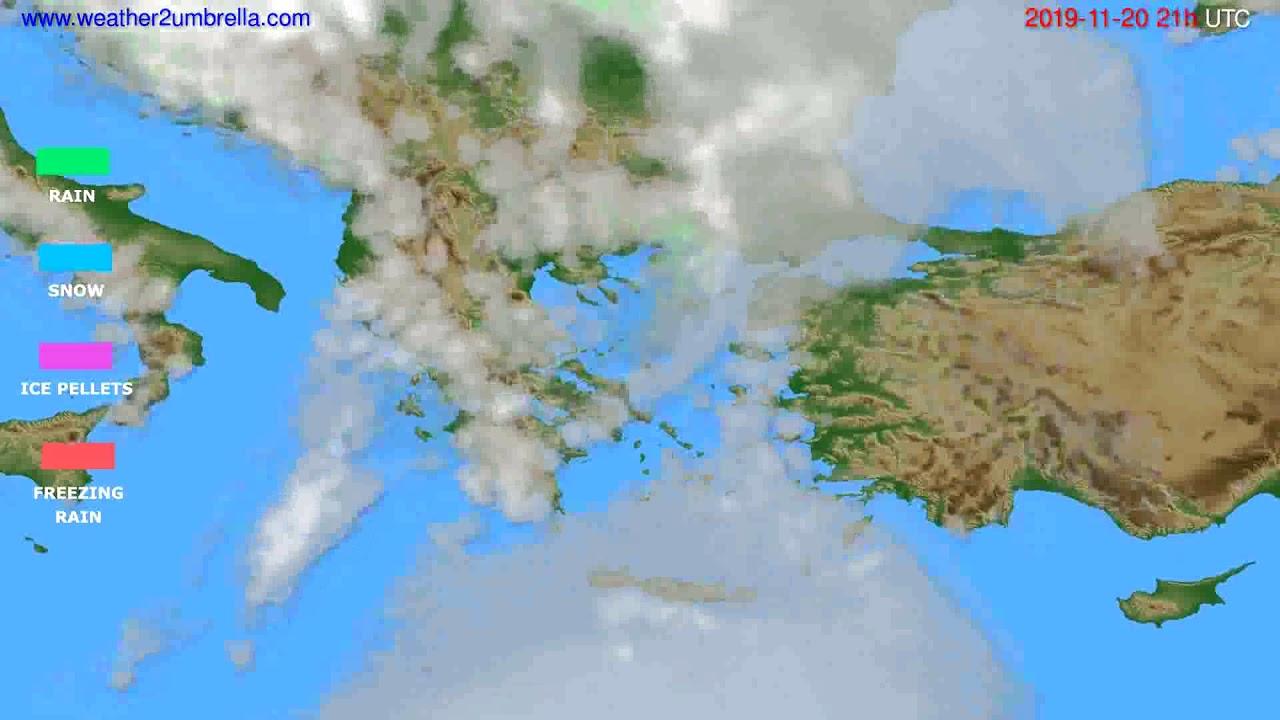 Precipitation forecast Greece // modelrun: 00h UTC 2019-11-19