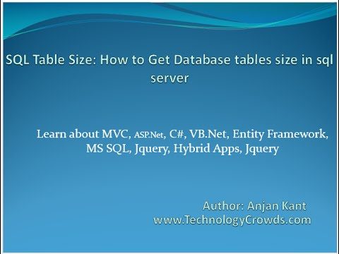 SQL Table Size: How to Get Database tables size in sql server