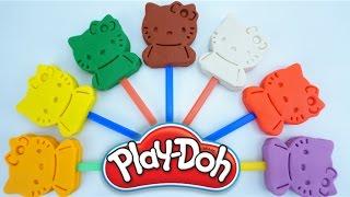 Learn Colors For Kids Hello Kitty Play Doh: Lion, Giraffe, Elephant , Zebra Horse, Butterfly