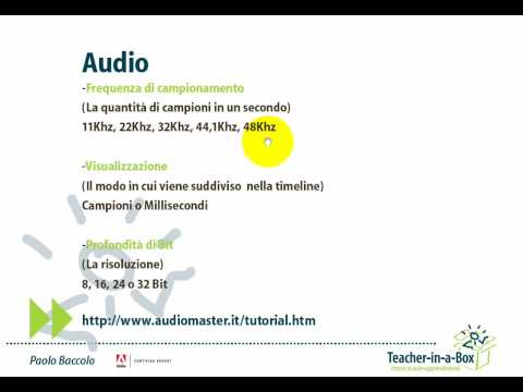Audio in un video digitale: frequenza di campionamento, visu...