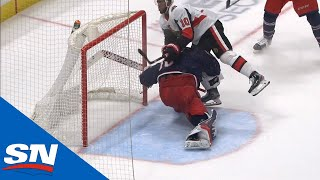 Elvis Merzlikins Exits Game After Anthony Duclair Crashes Into Him by Sportsnet Canada