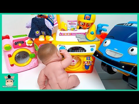 Tayo Bus in Real Life. Littel Bus Baby Care Pororo Song Washing Machine Baby Doll Toys | MariAndToys
