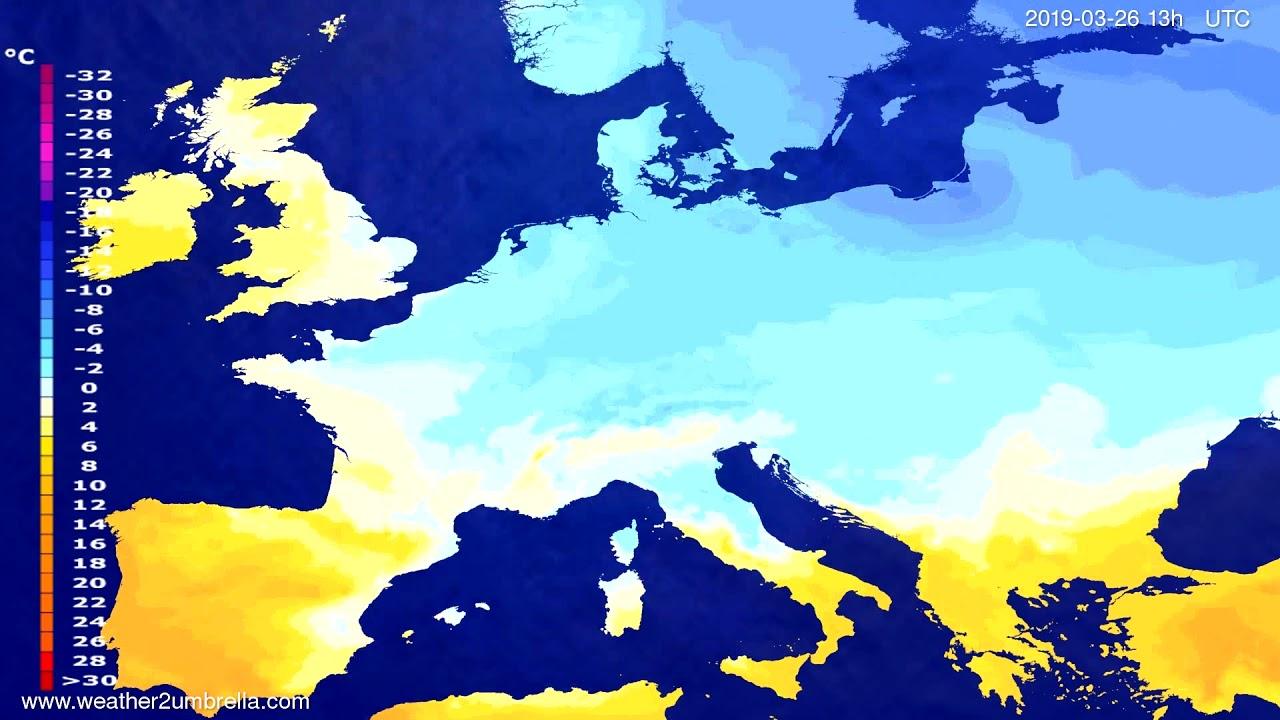 Temperature forecast Europe 2019-03-26