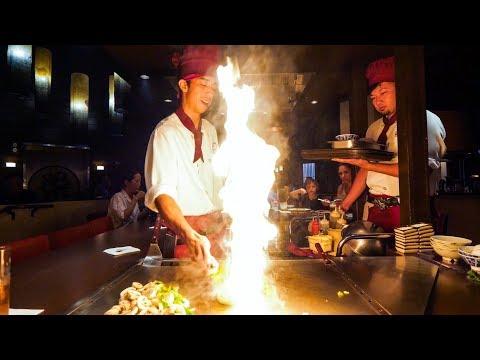 Teppanyaki LOBSTER & STEAK - Amazing Knife Skills and Fire Cooking in Waikiki, Hawaii!