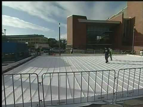 Installing the outdoor ice rink at Centennial Square, Victoria BC
