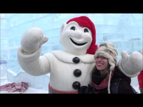 Meeting Bonhomme at Quebec City Winter Carnival