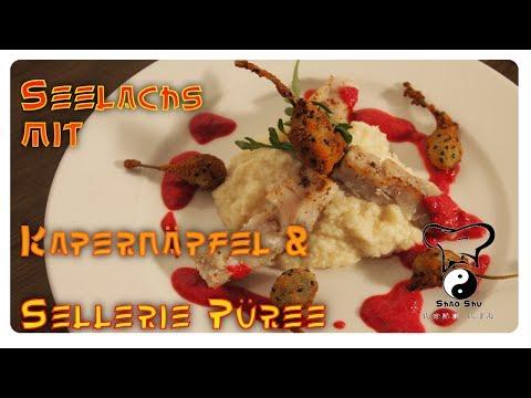 Seelachsfilet mit Rote Beete-Schaum, gebackenen Kapernäpfel und Sellerie-Püree