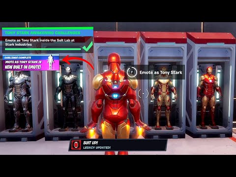 Emote as Tony Stark Inside the Suit Lab at Stark Industries - How to Unlock Iron man's Suit Up Emote