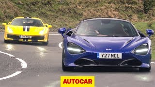 Ferrari 488 Pista v McLaren 720S on the road ... in the wet | Supercar review | Autocar by Autocar