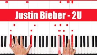 2U David Guetta ft. Justin Bieber Piano Tutorial - VOCAL