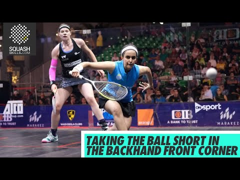Squash tips - Process of taking the ball short: Backhand front corner demo & analysis
