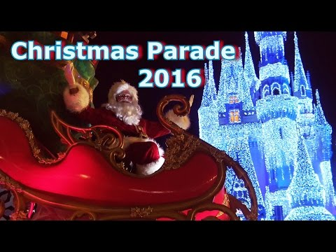 Mickey's Once Upon A Christmastime Parade - CASTLE VIEW - Magic Kingdom - HD 60 FPS
