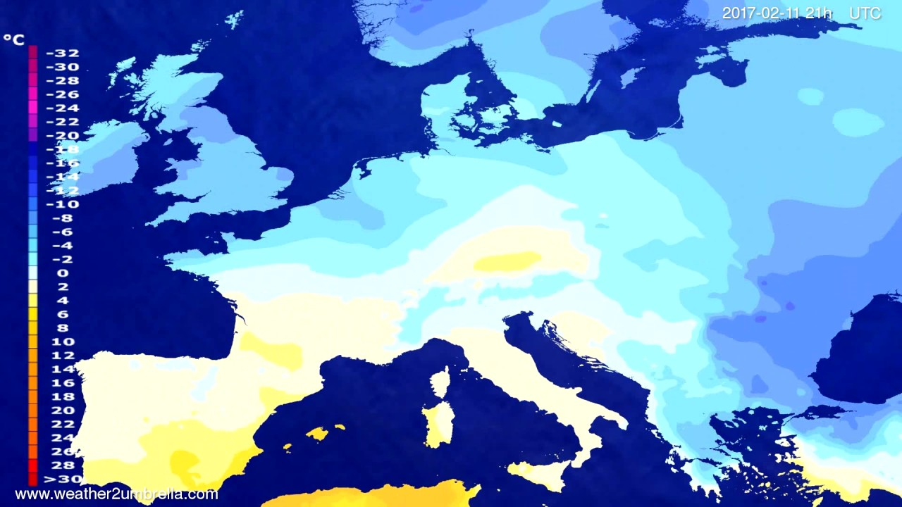 Temperature forecast Europe 2017-02-08