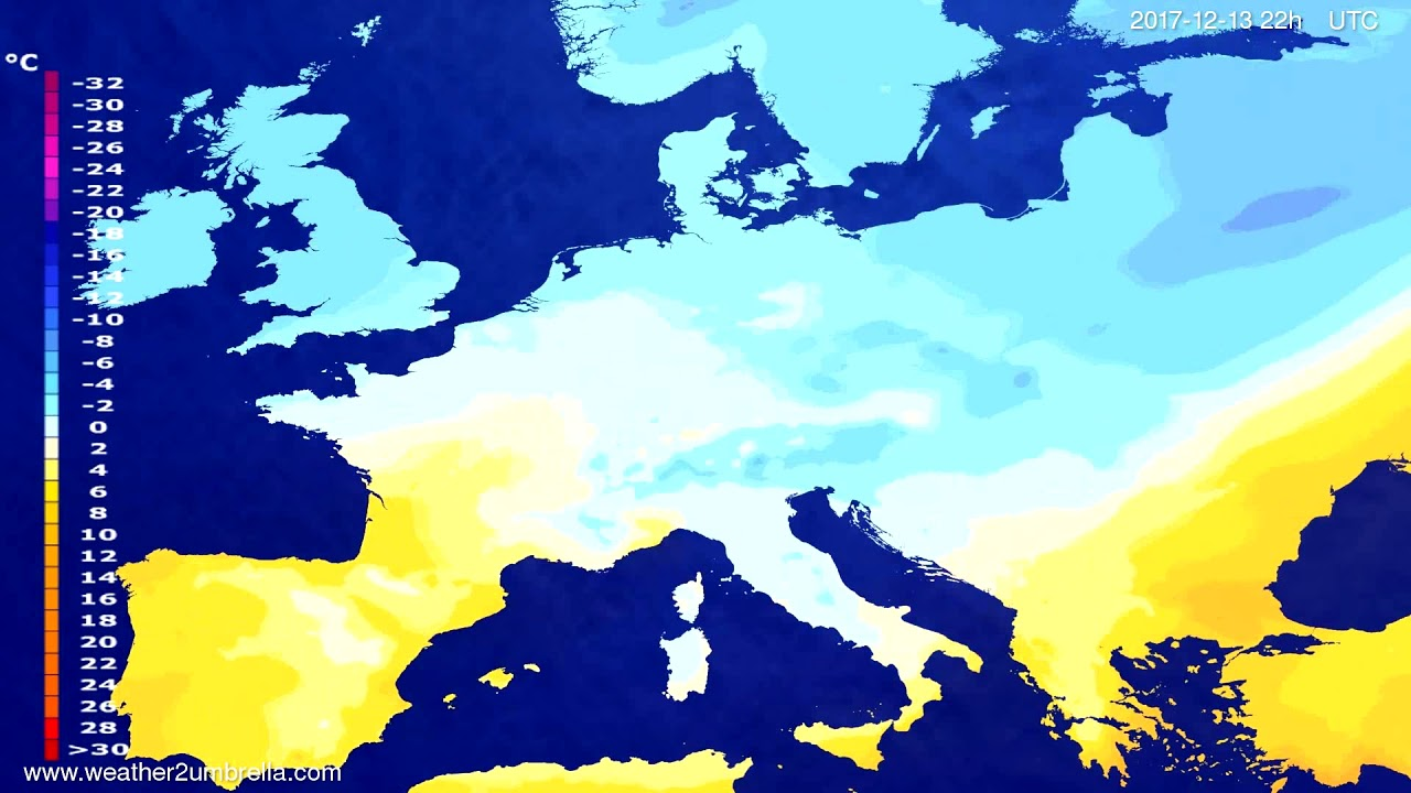 Temperature forecast Europe 2017-12-11