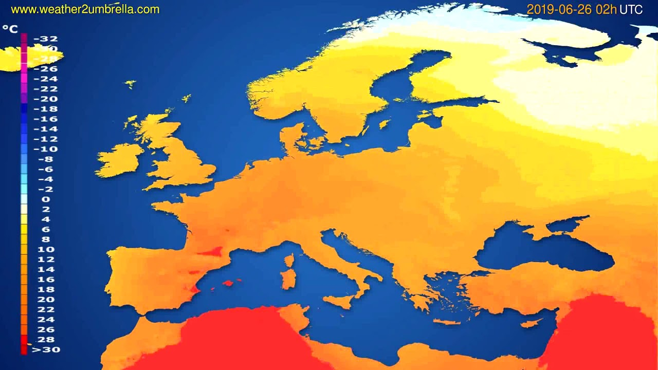 Temperature forecast Europe // modelrun: 00h UTC 2019-06-23
