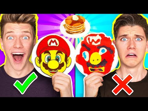 PANCAKE ART CHALLENGE 4!!! Learn How To Make Mario Odyssey Star Wars Jedi Nintendo Food DIY Pancake (видео)