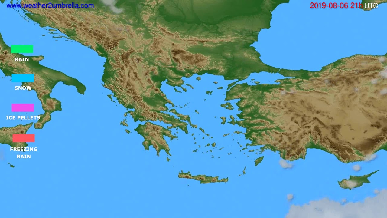 Precipitation forecast Greece // modelrun: 00h UTC 2019-08-05